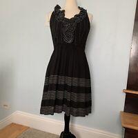 Kate Spade Black Silk Ruffle Crepe Dress, Sz 8