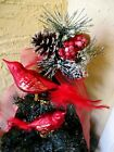 VINTAGE 2 CLIP ON BLOWN GLASS RED BIRDS & GLITTER WITH FEATHER TAILS