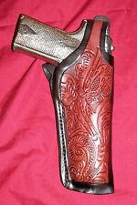 "Colt 1911 Tooled Leather Holster Brown .45 Pistol Gun 5"" Government Thumb Break"