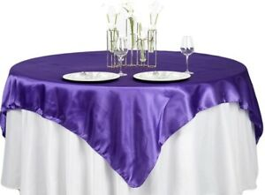 """60"""" SATIN Square Tablecloth Overlay For Wedding Catering Party Table Decorations"""
