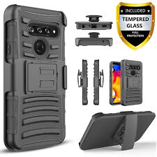 For LG K51 / Reflect L555DL Case, Belt Clip KickStand + Tempered Glass Protector