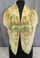 "Vintage Banana Colour Pure Silk Scarf with Pheasants made in England  38""x38"""