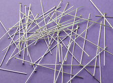 38mm length 26 gauge 0.60mm thick 925 Sterling Silver Flat End Head Pins 24pcs