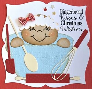 Handmade By Susie Baking Gingerbread Christmas Card Topper FLAT RATE UK P&P
