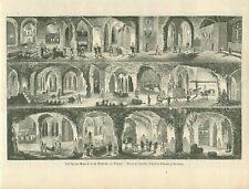 Salt mining Mine de Sel Wieliczka Pologne Poland Polska GRAVURE OLD PRINT 1860