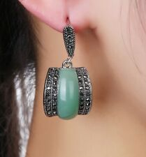 SILVER 925 Earrings EMERALD Pave Ematite by Patricia Adelson EXCLUSIVE DESIGN.