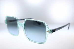 Authentic Ray Ban 1973 1285/3M Blue Square womens Sunglasses Blue Gradient Lens