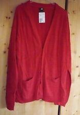 H&M Long Cardigan, Wolle Feinstrick Gr XL, warm aber nicht zu dick, rot, neu