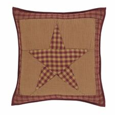 Ninepatch Star Hand Quilted Patchwork Filled Pillow Burgundy Red & Khaki Check
