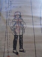 """PATRON ORIGINAL  POUPEE """" BLEUETTE """" CAPE A CAPUCHON  JANVIER  1921"""