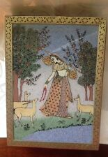 Gemstone Painting Box Wood Brass Glass Top Reverse Painting Woman, Deer Gold Lf
