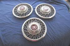 """1989-91 Cadillac Deville Fleetwood Seville 14"""" Wire Spoke Hubcaps Hubcap Set/3"""
