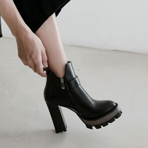 New Winter Womens Thick-Soled High-Heel Ankle Boots Oversize Pointed Toe Buckle