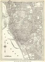 1909 Antique BUFFALO New York Street Map City Map of Buffalo Wall Art 7995