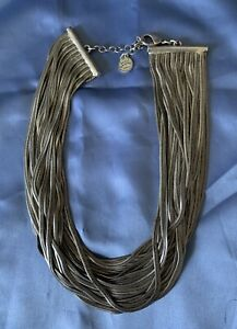 Metal Pointus Paris (Signed) Multistrand Silvertone Necklace