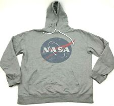 NASA Sweater Hoodie Size Large L Gray Pullover Long Sleeve Hooded Adult Men's