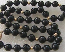 "Black Onyx Necklace 18"" Smooth Beads w/ 14kt Gold Filled Clasp -- 6mm"