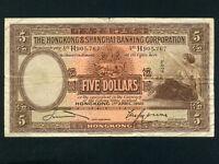 Hong Kong:P-173c,5$,1941 * Shanghai Banking Corp * Vertical Serial # * RARE *
