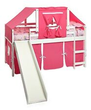 Kid's Twin White Low Loft/Bunk Bed with Slide, Pink Curtain & Top Tent