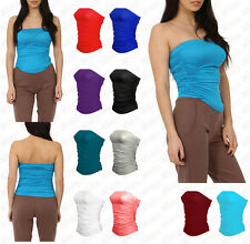 New Women Plain Strapless Sleeveless Ruched Boob Tube Ladies Bandeau Top 8 - 26