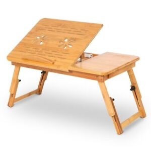 Adjustable Bamboo Computer Desk Rack Shelf Bed Lap Desk Portable Stand Table