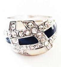 USA RING Rhinestone Crystal Fashion Gemstone Silver Black White SIZE-8 a2
