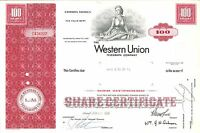 The Western Union Telegraph Company > 1968 New York old stock certificate share