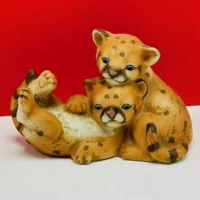 Curious Cougar figurine masterpiece porcelain homco 1993 sculpture cats statue