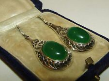 FINE, ART DECO, CHINESE STERLING SILVER EARRINGS WITH NATURAL JADE GEMS