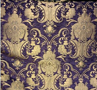 ARABESQUE GOTHIC BAROQUE UPHOLSTERY CHENILLE FABRIC PURPLE GOLD JACQUARD DAMASK