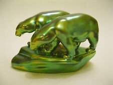 Vintage Zsolnay Green Gold Eosin Polar Bears Figurine