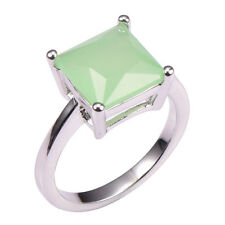 Sublimatic Cushion Cut Green Prehnite 925 Hallmarked Silver Ring Sz 9.75 - S 1/2