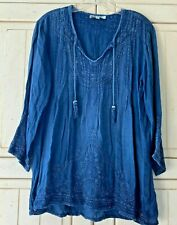 Anthropologie Laffaire Peasant Embroidered Boho Blue Top Shirt Blouse Large