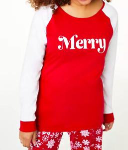 Family Matching Christmas Pajamas Set Baby Kids Sleepwear- Red/White Merry