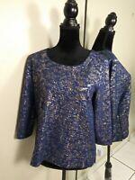 Ann Taylor Blouse Shirt Top Womens size LP Large Petite Blue Gold