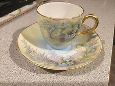 Vintage Painted GDA France Limoges Porcelain Demitasse Teacup and Saucer Set