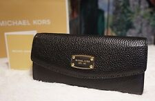 NWT MICHAEL KORS Jet Set MK Sig. Slim Flap Wallet BLACK Pebbled Leather $158