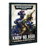 Warhammer 40K 8th Edition Know No Fear book, core rules, transfers, ruler, dice