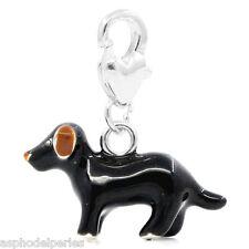 Pendentif breloque émaillée chien 3D monté sur mousqueton coeur