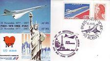 4591+ CONCORDE 10eme ANNIVERSAIRE 1er  LIAISON AERIENNE    PARIS  NEW YORK