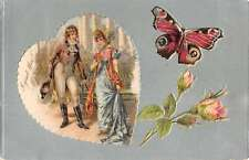 Romance Couple Colonial Butterfly Flowers Antique Postcard K42526
