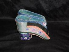 Vintage Embroidered Silk Lotus Chinese Foot Binding Girls Shoes Blue Pink Floral