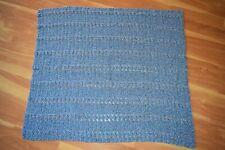"Afghan Throw Blanket Handmade Crochet? Knit? Blue Pink White 42"" x 48"""