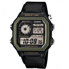 CASIO AE-1200WHB-1B WORLD TIME ALARM LED RESIN WATCH With Warranty