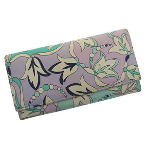Emilio Pucci Wallet Purse Long Wallet Blue Woman Authentic Used H064