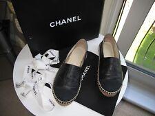 Authentique Chanel en cuir noir et toile espadrilles taille 39 (petite taille UK 6)