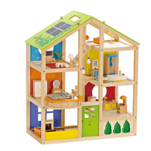 Hape Wooden Dollhouse with 6 Rooms, Wooden Furniture, Ages 3+ Years (For Parts)