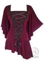 NWT WOMENS PLUS SIZE CLOTHING ALCHEMY CORSET TOP IN GARNET 2X