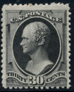 US #190, 30¢ full black, og, LH, light corner crease, PF cert, Scott $850.00