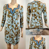 Women's Short BODEN Dress Size 10 Brown/Blue 3/4 Sleeve Floral & Beads Brill Con
